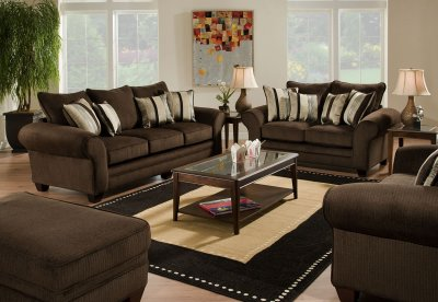 Brown Fabric Casual Sofa Amp Loveseat Set W Plush Flared Arms