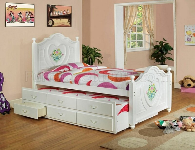 CM7619 Isabella II Kids Bedroom In White W Twin Bed Trundle