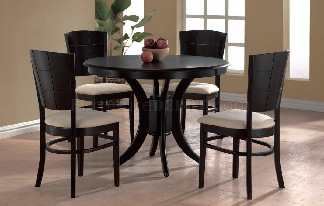 Espresso Finish Modern Round Dining Table W Optional Chairs