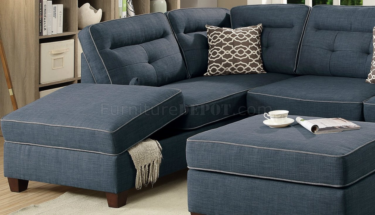 F6523 Sectional Sofa Amp Ottoman Set In Dark Blue Fabric By Boss