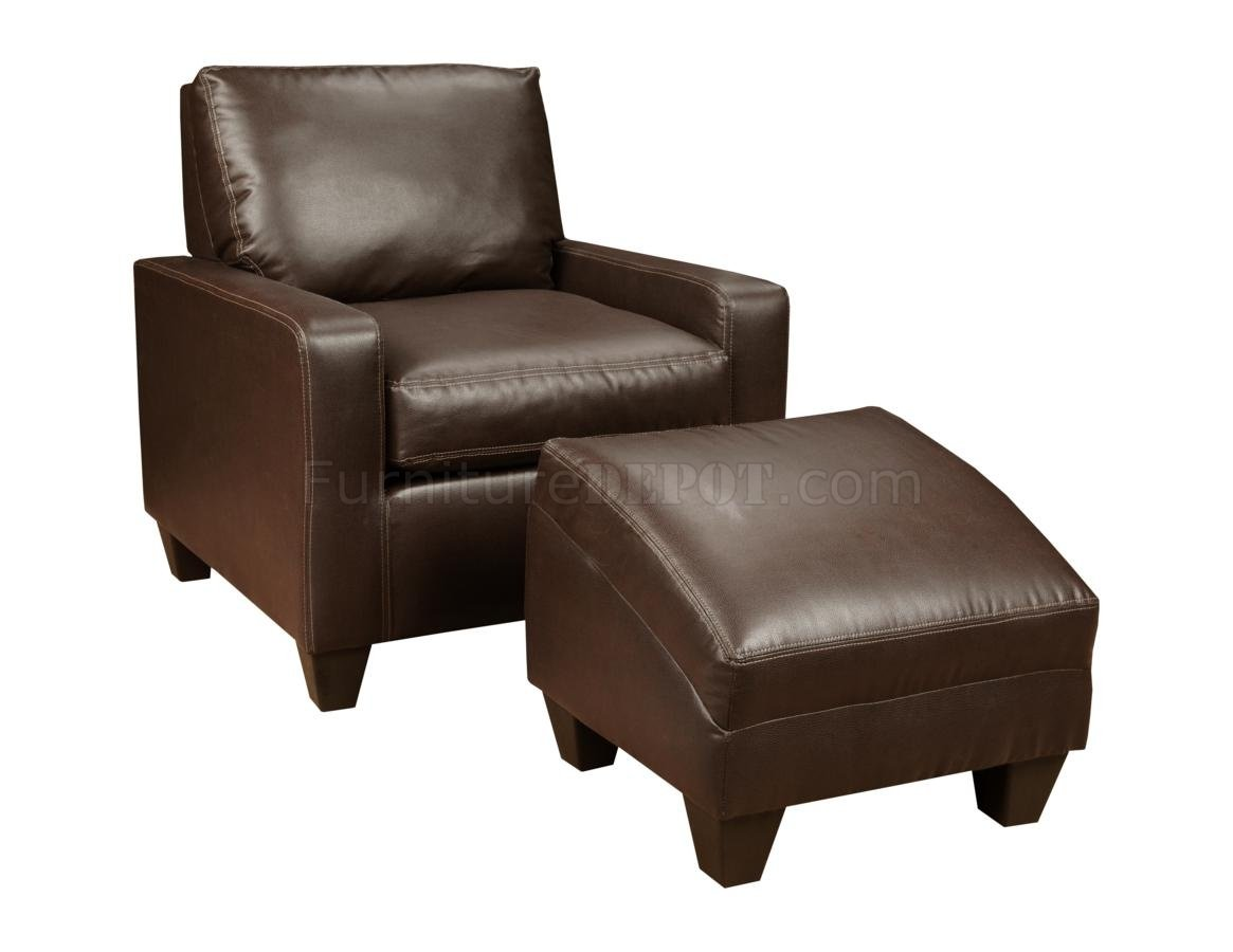 chocolate bonded leather modern chair ottoman set chfcc v3 35 ch