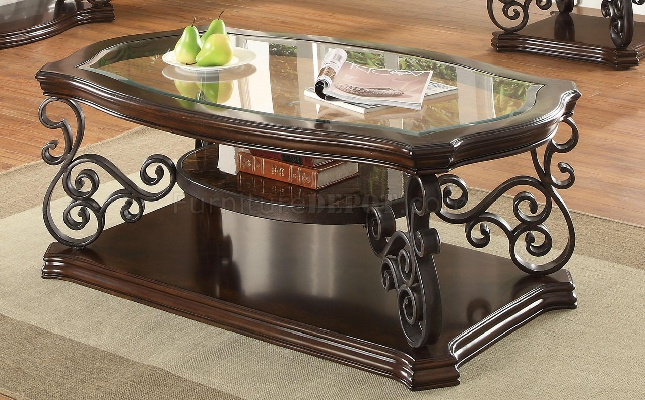 702448 Coffee Table In Merlot By Coaster W Glass Top Options