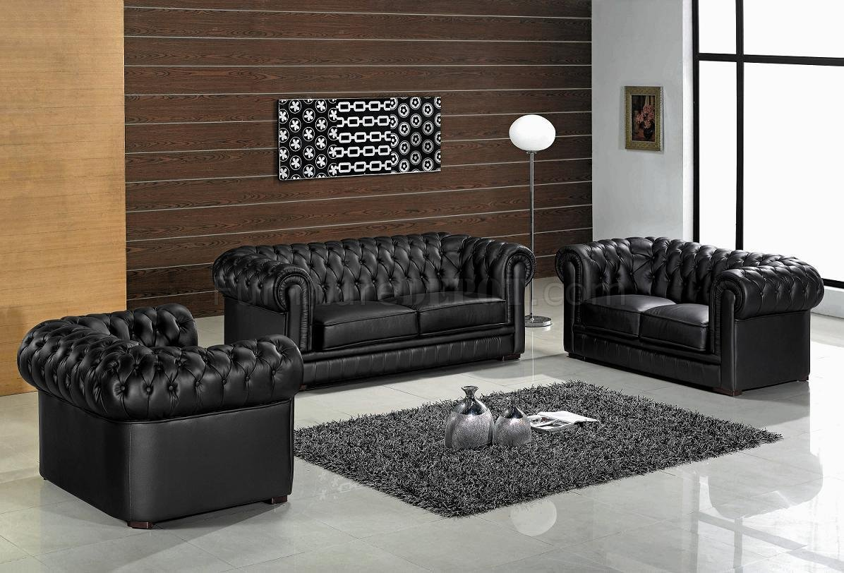 Leather ultra modern 3 piece living room set paris black for Black living room furniture