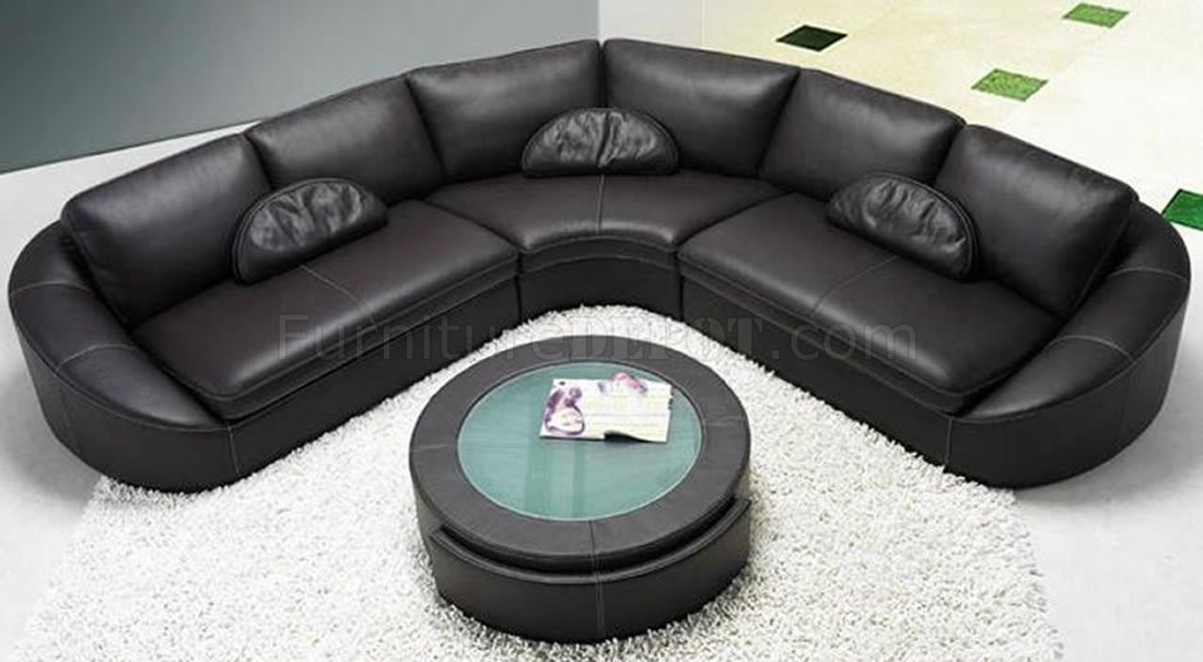 Black Leather Modern Sectional Sofa W Coffee Table VGSS 2224 Black