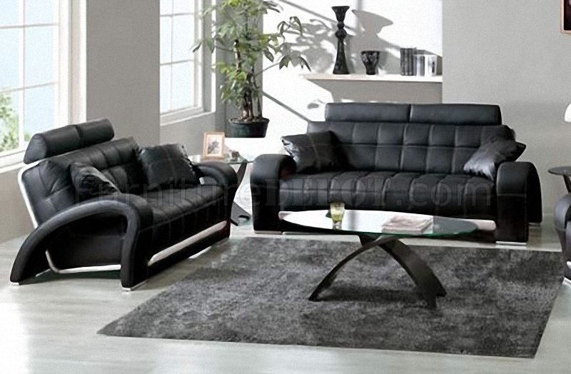 Black Tufted Leather Sofa Amp Loveseat W Silver Leather Accents