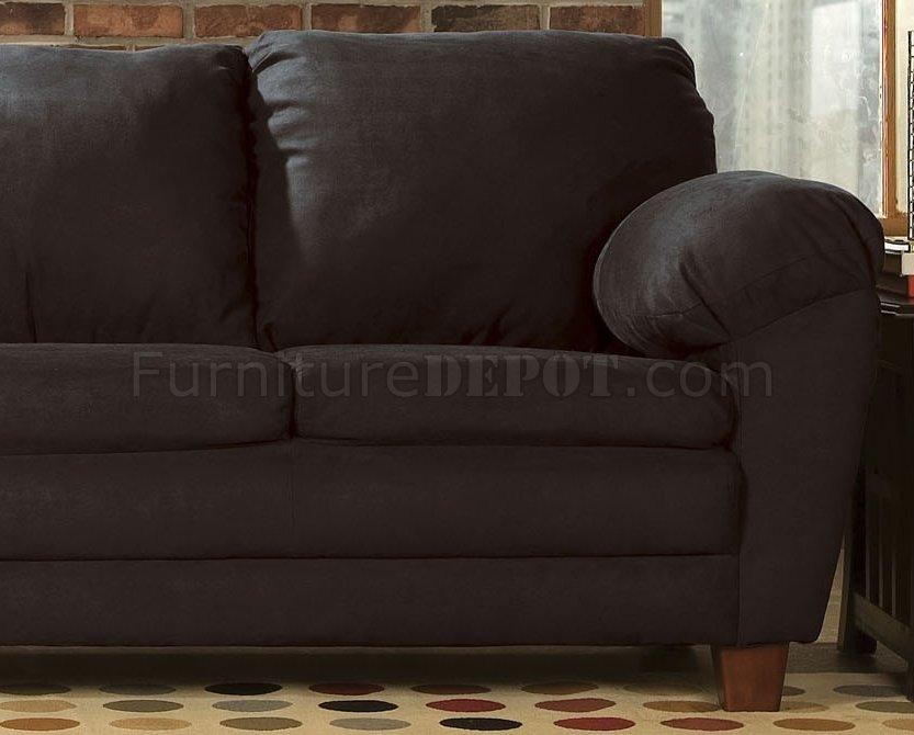 Black Fabric Transitional Sofa W Super Soft Arm Pillows