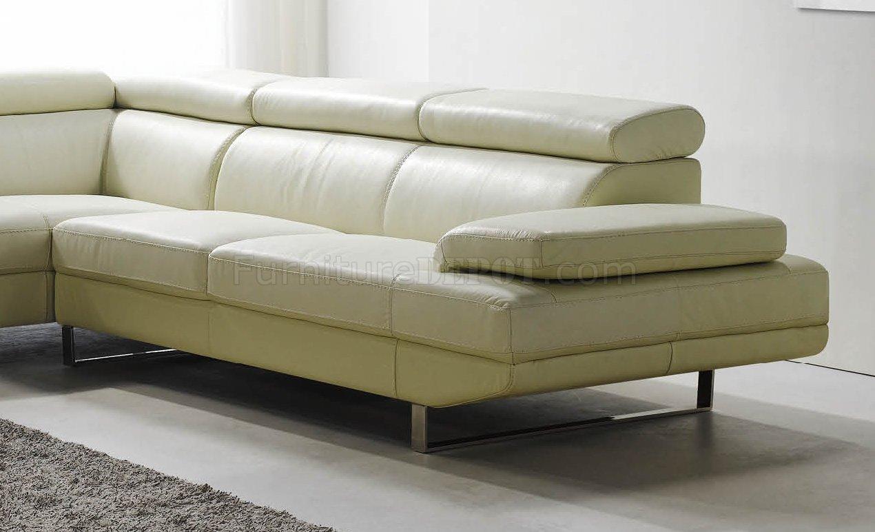 Off White Top Grain Full Leather Modern Sectional Sofa. White Top Grain Full Leather Modern Sectional Sofa