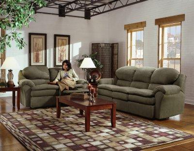 Olive Microfiber Modern Double Reclining Sofa Amp Loveseat Set
