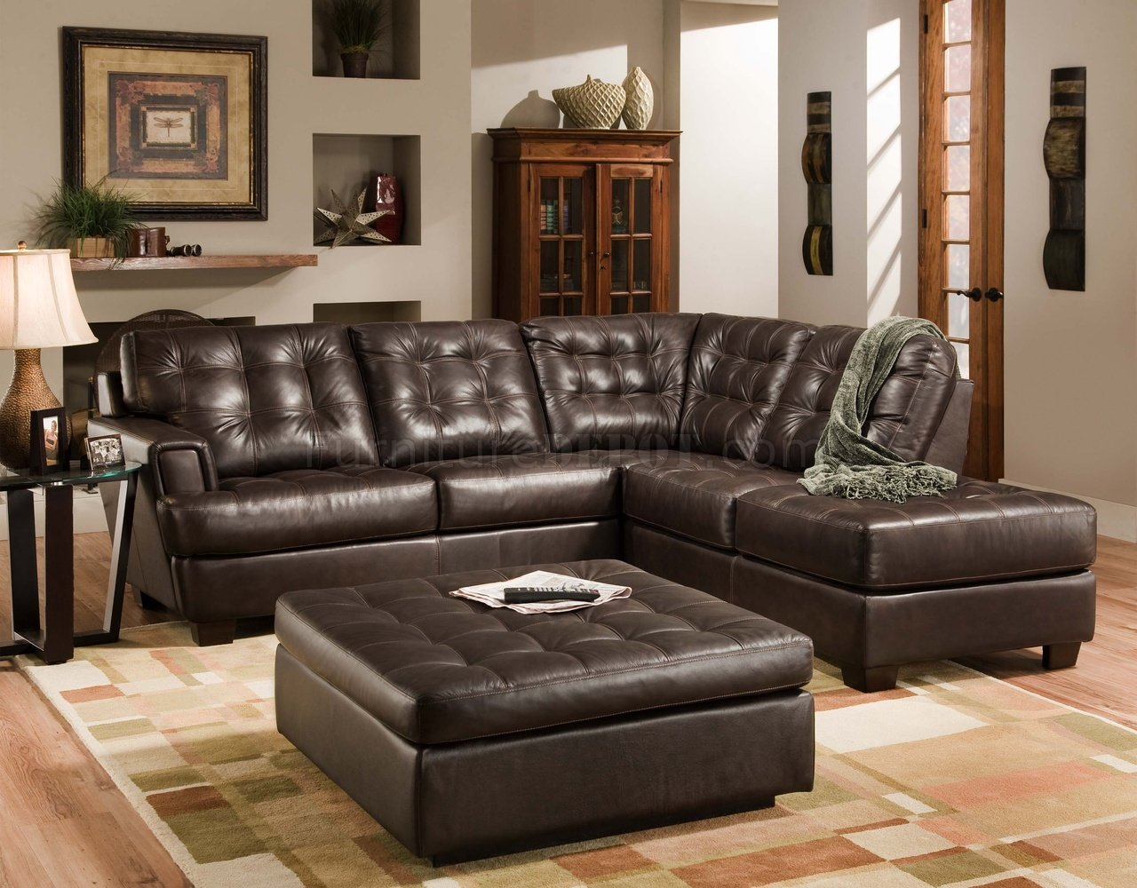 Brown Tufted Top Grain Italian Leather Modern Sectional Sofa
