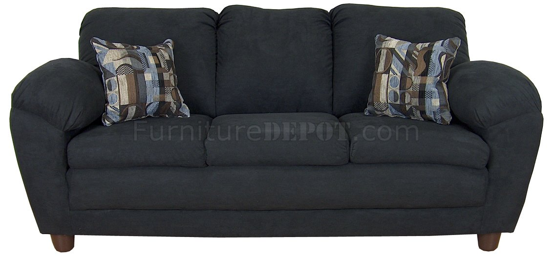 Black fabric modern sofa loveseat set w optional chairs for Black fabric couches