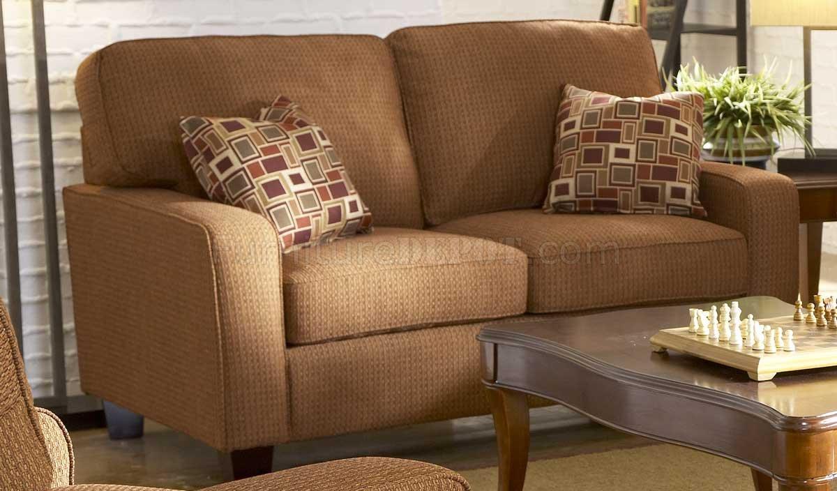 Tan Chenille Contemporary Sofa W Cherry Wooden Legs