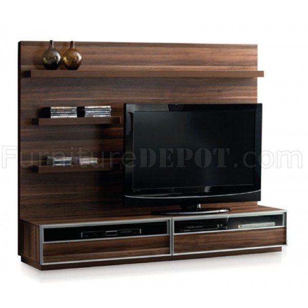 Brown finish modern tv stand wall unit - Modern tv wall unit ...