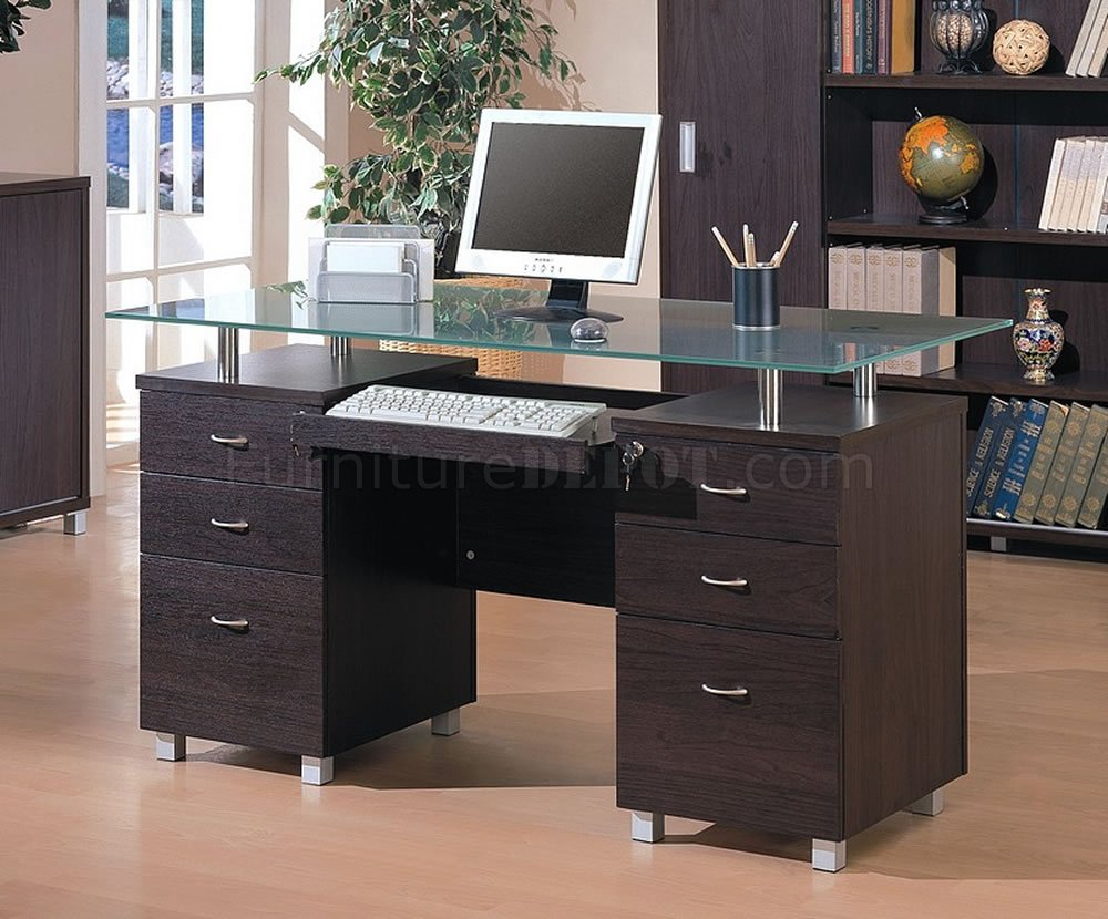 Finish Contemporary fice Desk W Glass Top