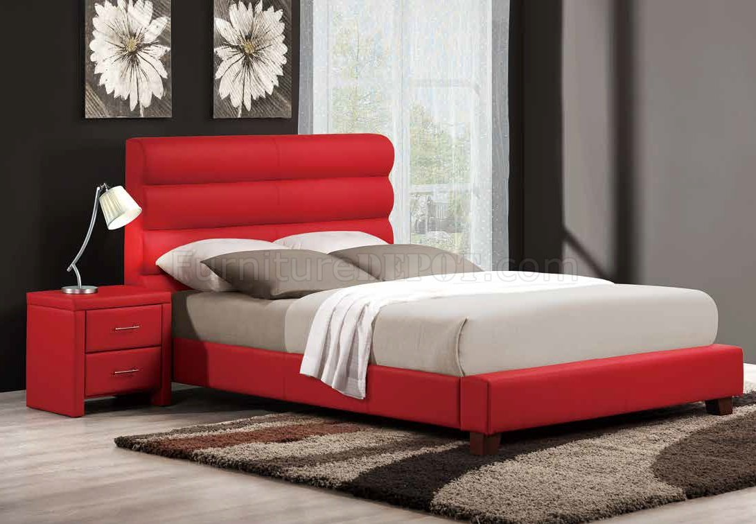5795 Aven Upholstered Bed By Homelegance In Red W Options