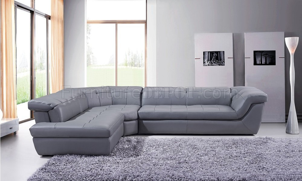 397 Sectional Sofa in Grey Italian Leather by J&M w/Options