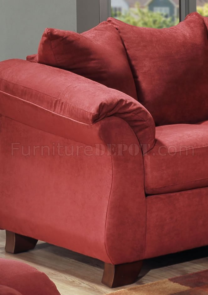 Merlot Microfiber Sofa Amp Loveseat Set W Attached Loose Pillows
