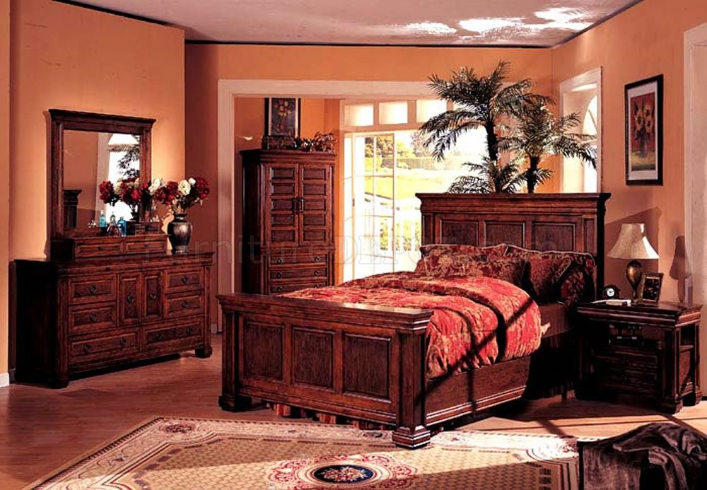 walnut finish classic bedroom w traditional panel bed crbs 154 3490