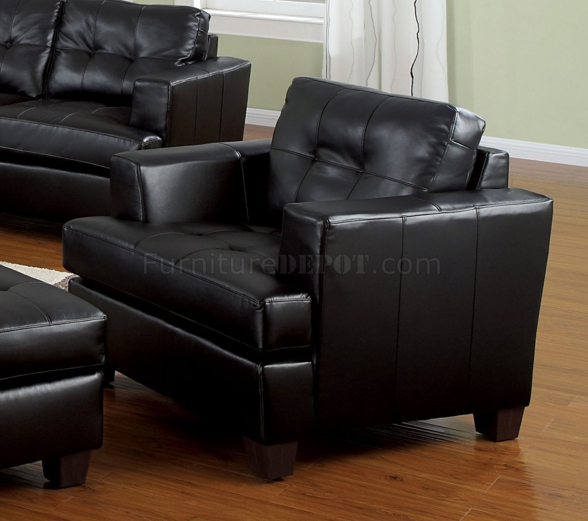 Black Living Room Furniture: Bonded Leather Living Room 15090 Black