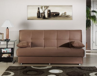 Elegant Contemporary Sofa Sleeper w Storage in Brown Microfiber