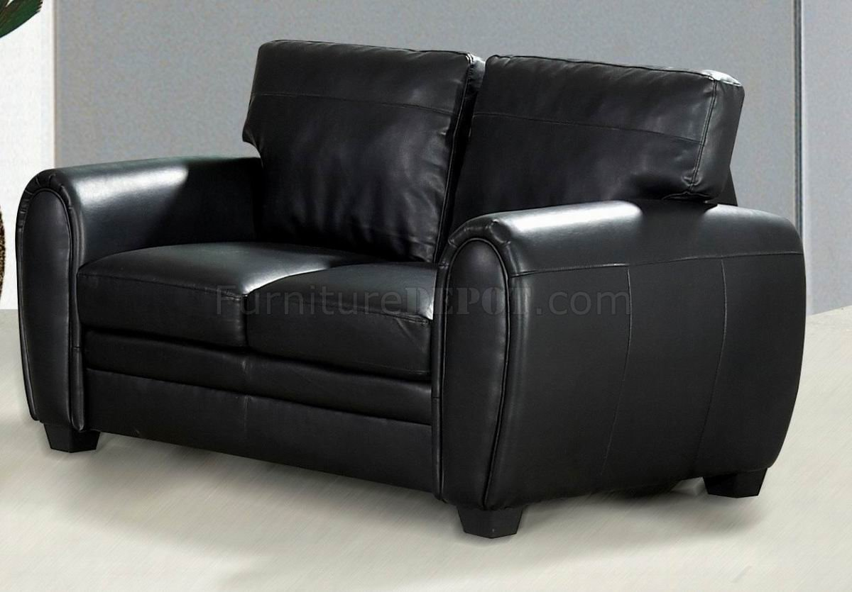Black Bonded Leather Sofa Loveseat Set W Optional Chair