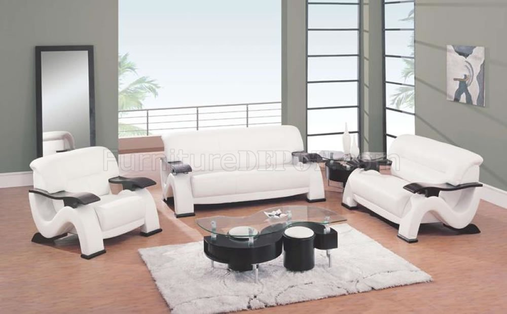 white leather living room set.  Modern White Leather Living Room Sofa w Cappuccino Finish Arms