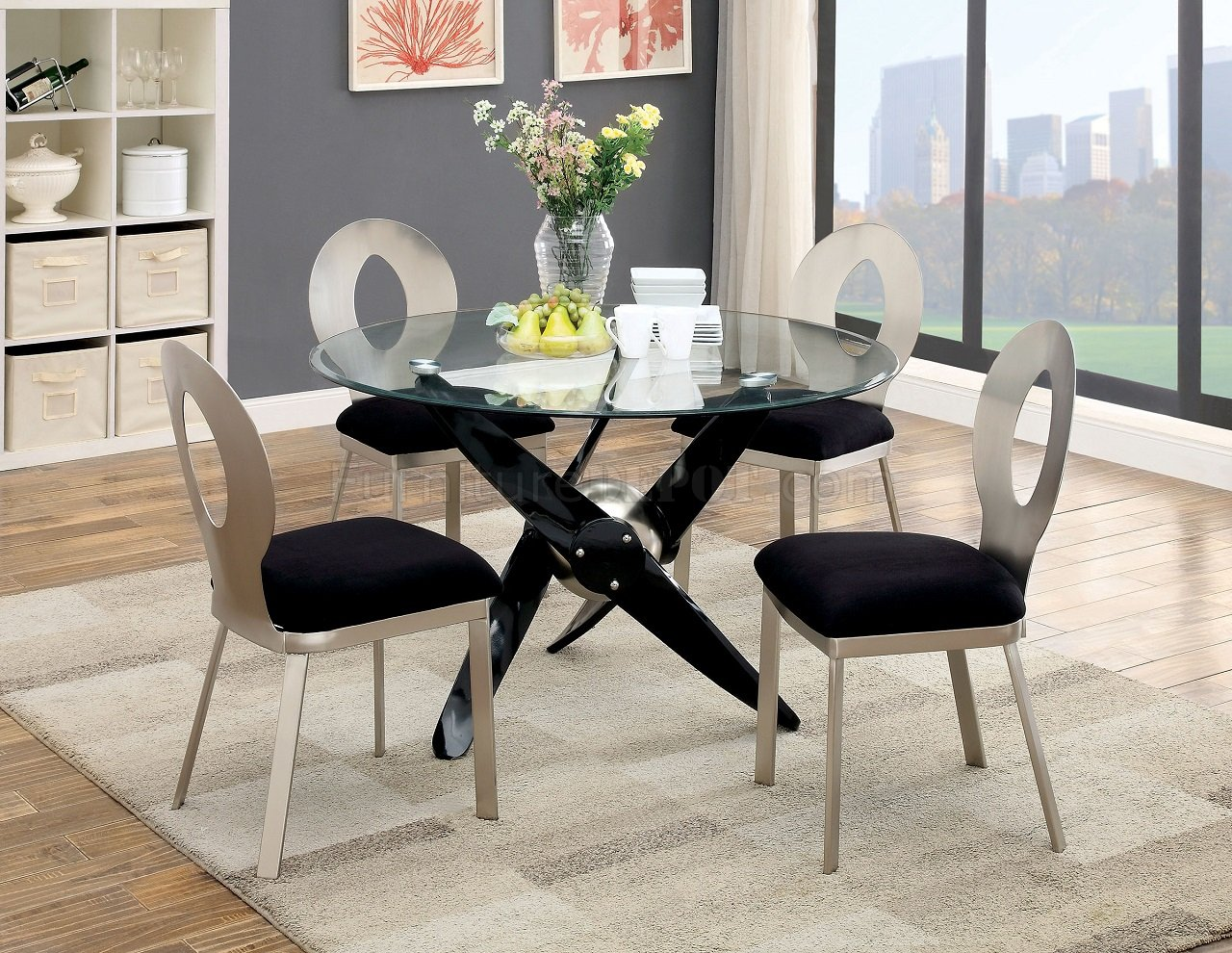 aero cm3169t round dining table w glass top metal frame. Black Bedroom Furniture Sets. Home Design Ideas