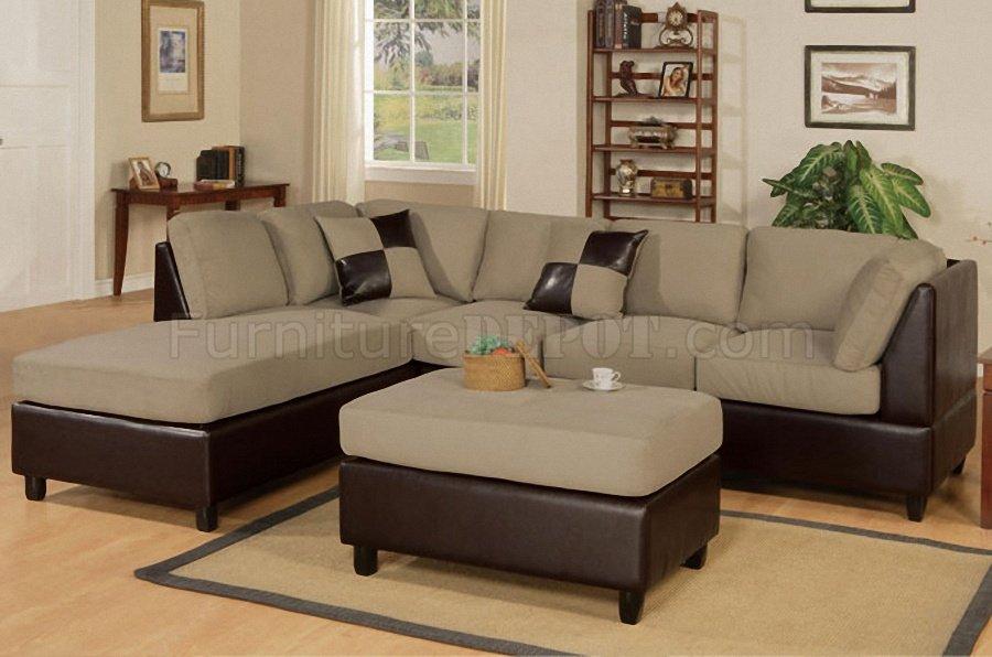 Pebble Microfiber Contemporary Sectional Sofa w/Ottoman | 900 x 596 · 81 kB · jpeg