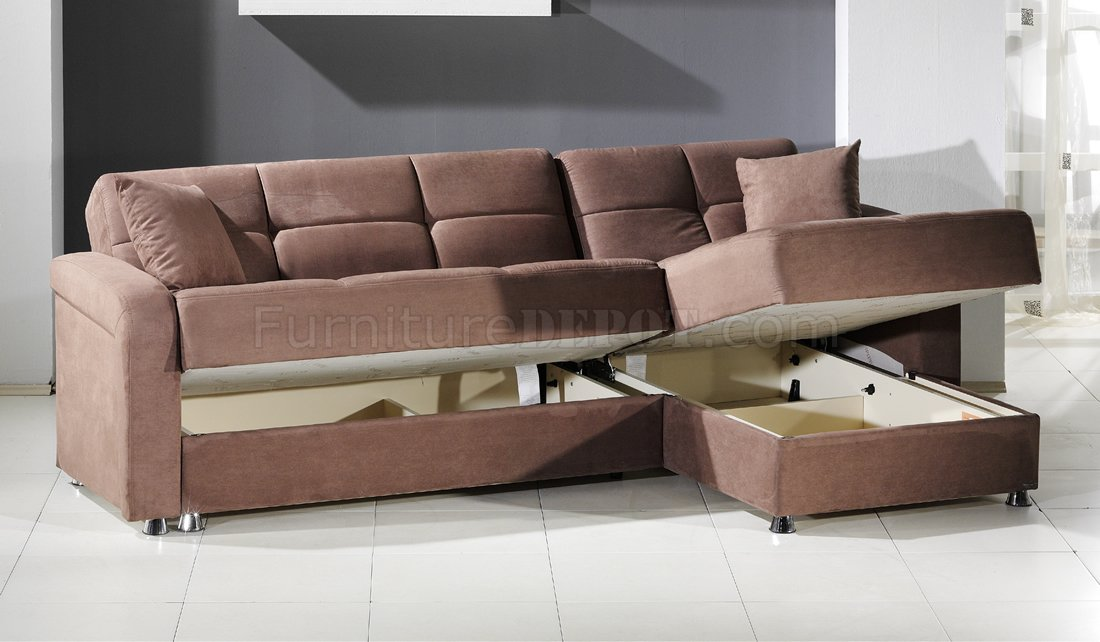 Superbe Vision Rainbow Truffle Sectional Sofa Bed By Sunset W/Storage