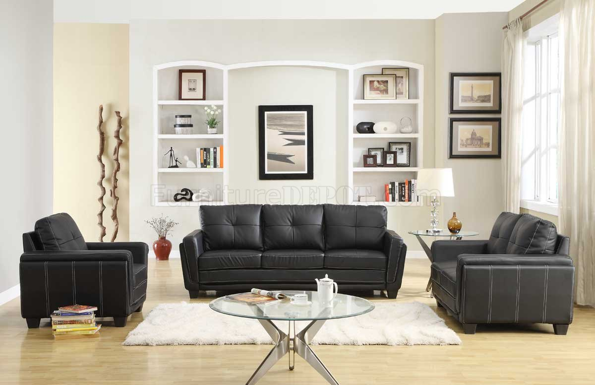 Dwyer Sofa Amp Loveseat Set 9701blk In Black Vinyl By