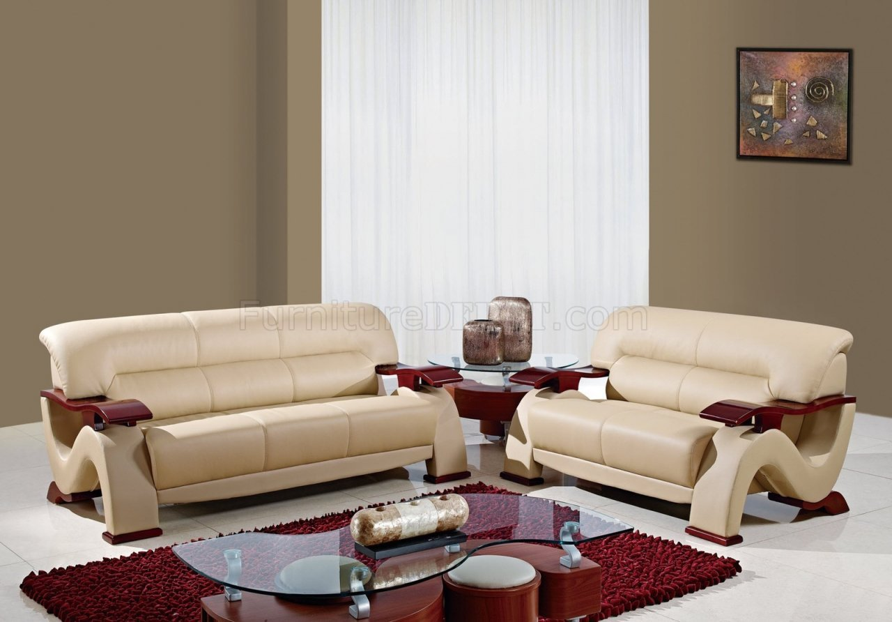 Black Leather 3PC Modern Living Room Set W/Mahogany Arms