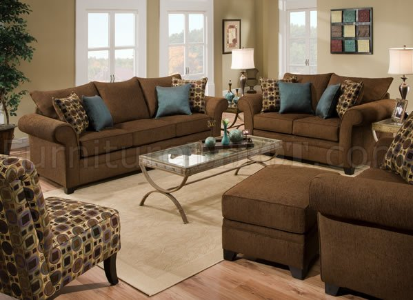 Sable Brown Fabric Sofa & Loveseat Set w/Accent Throw Pillows