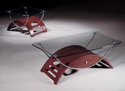 Coffee Table With Mahogany Half Moon Shape Base