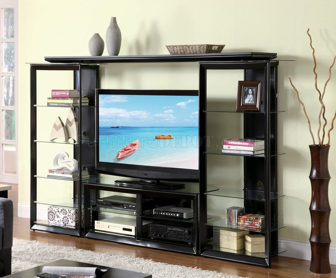 gloss black modern entertainment wall unit w/glass shelves