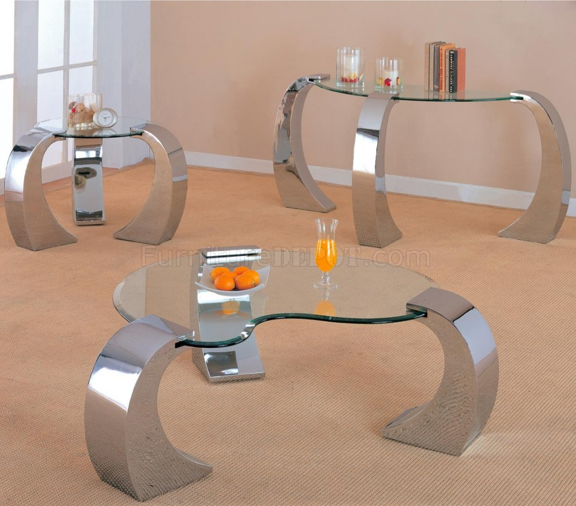 Beleved Kidney Shaped Glass Occasional Tables WChrome Legs - Round glass coffee table with chrome legs