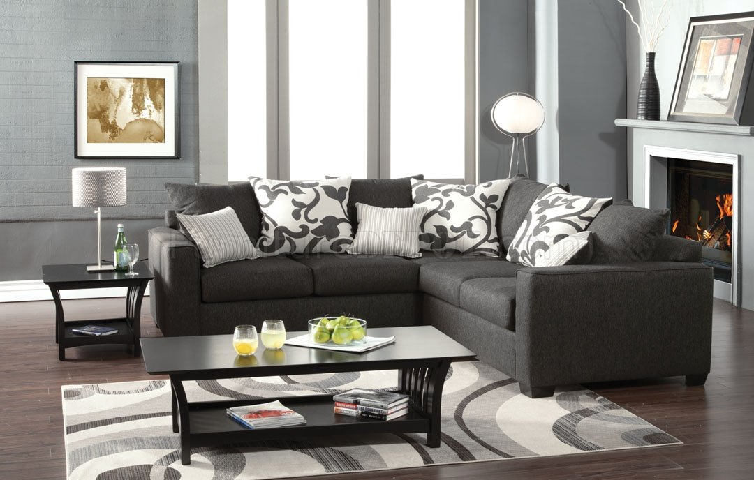 Cranbrook Sectional Sofa Sm3015 In Medium Gray Fabric