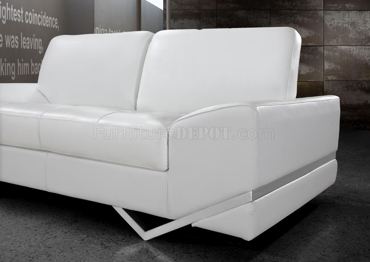Vanity Sofa 3pc Set In White Leather 0744 By Vig