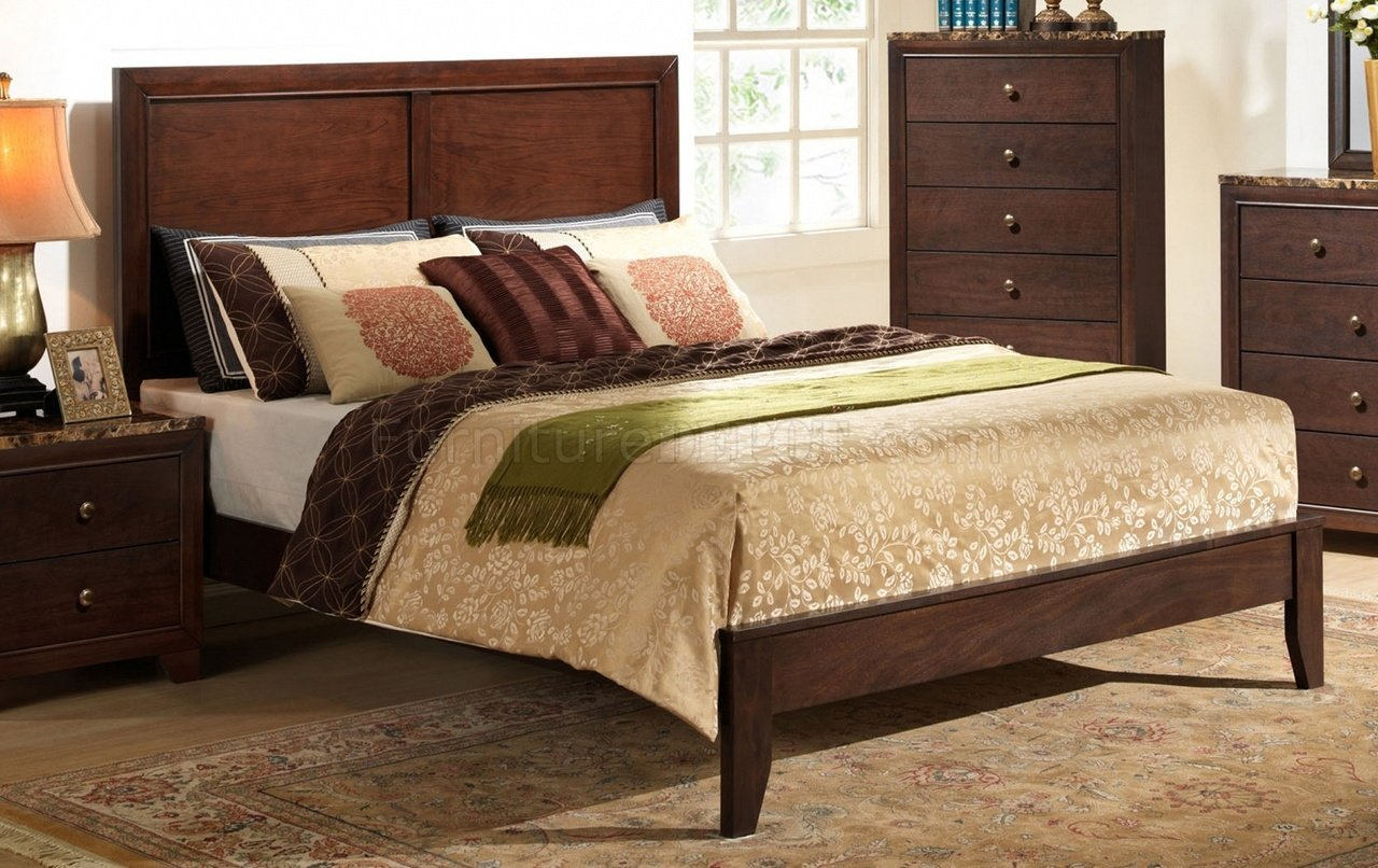 b205 bedroom set in cherry finish wfaux marble top casegoods