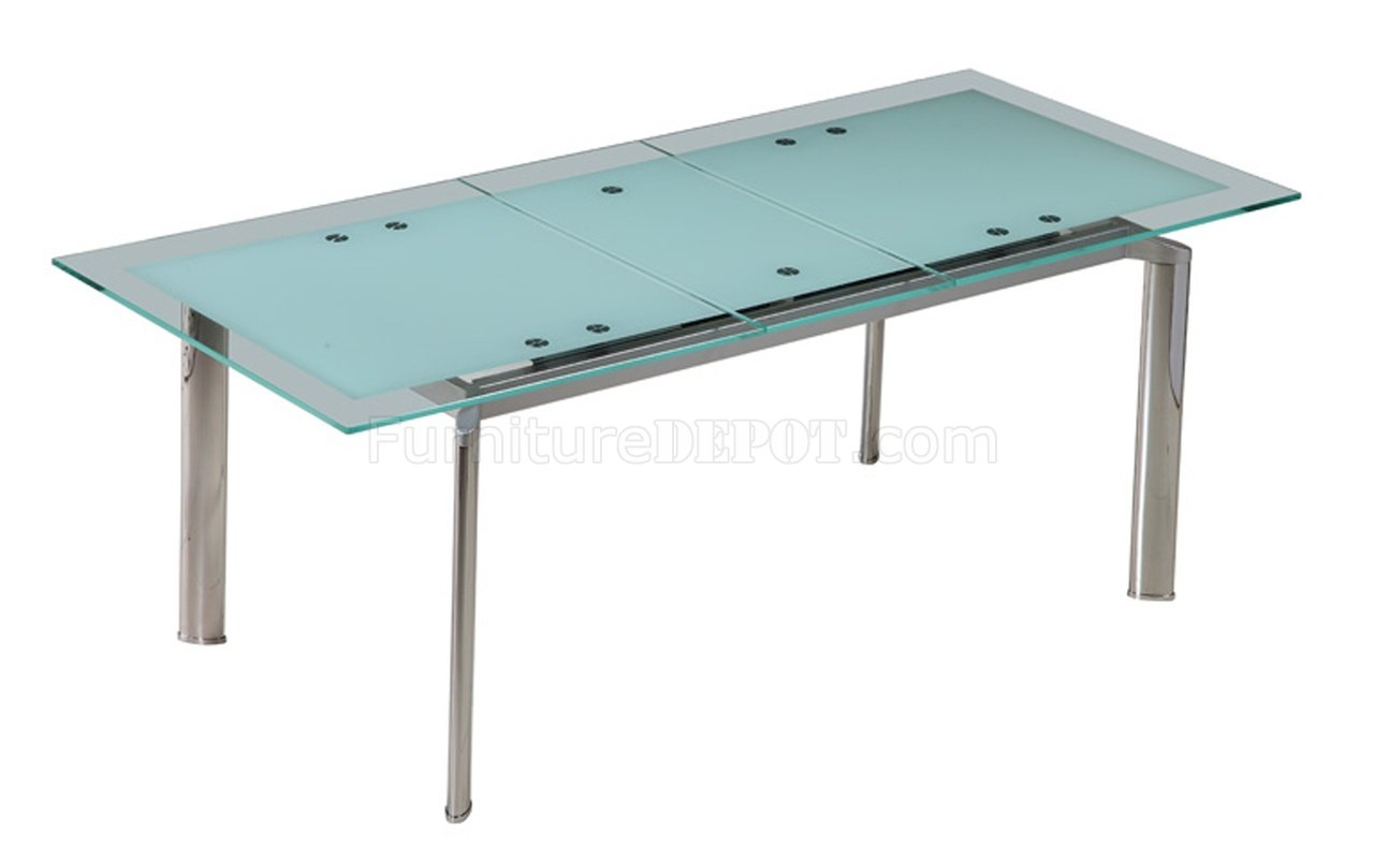 Modern dining tables with glass tops - Jack Extendable Dining Table W Glass Top By Whiteline Imports Wlds