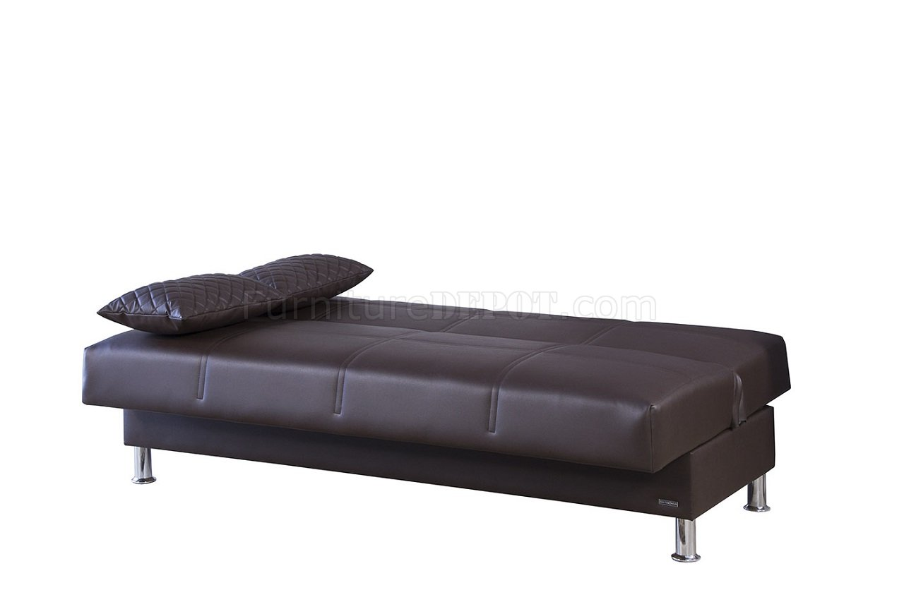 Eco rest sofa bed in zen brown leatherette by casamode for Zen sofa bed