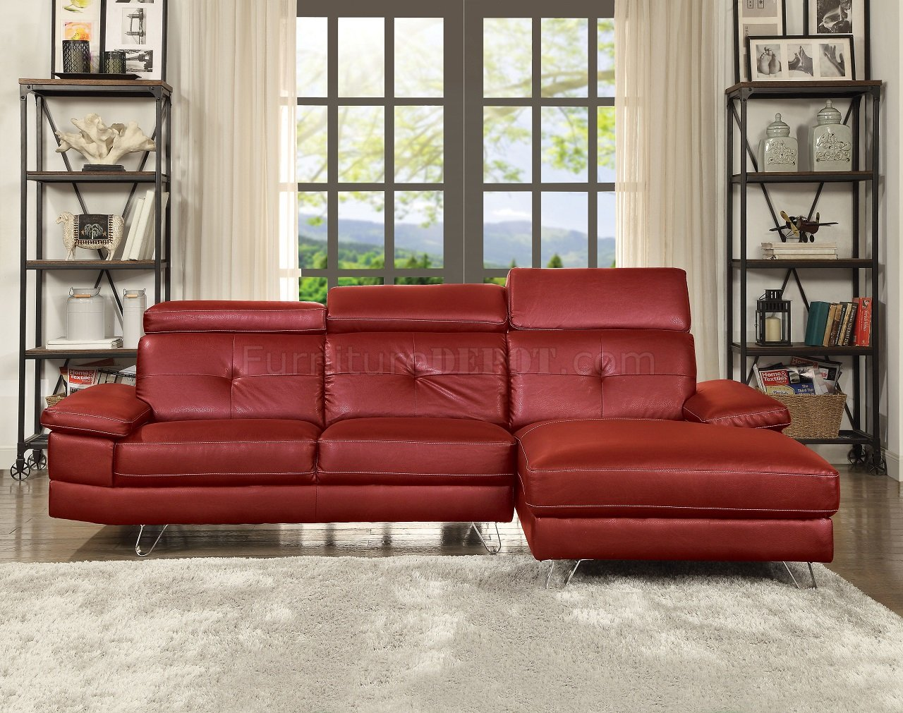 Aeryn Sectional Sofa 52040 in Red PU by Acme