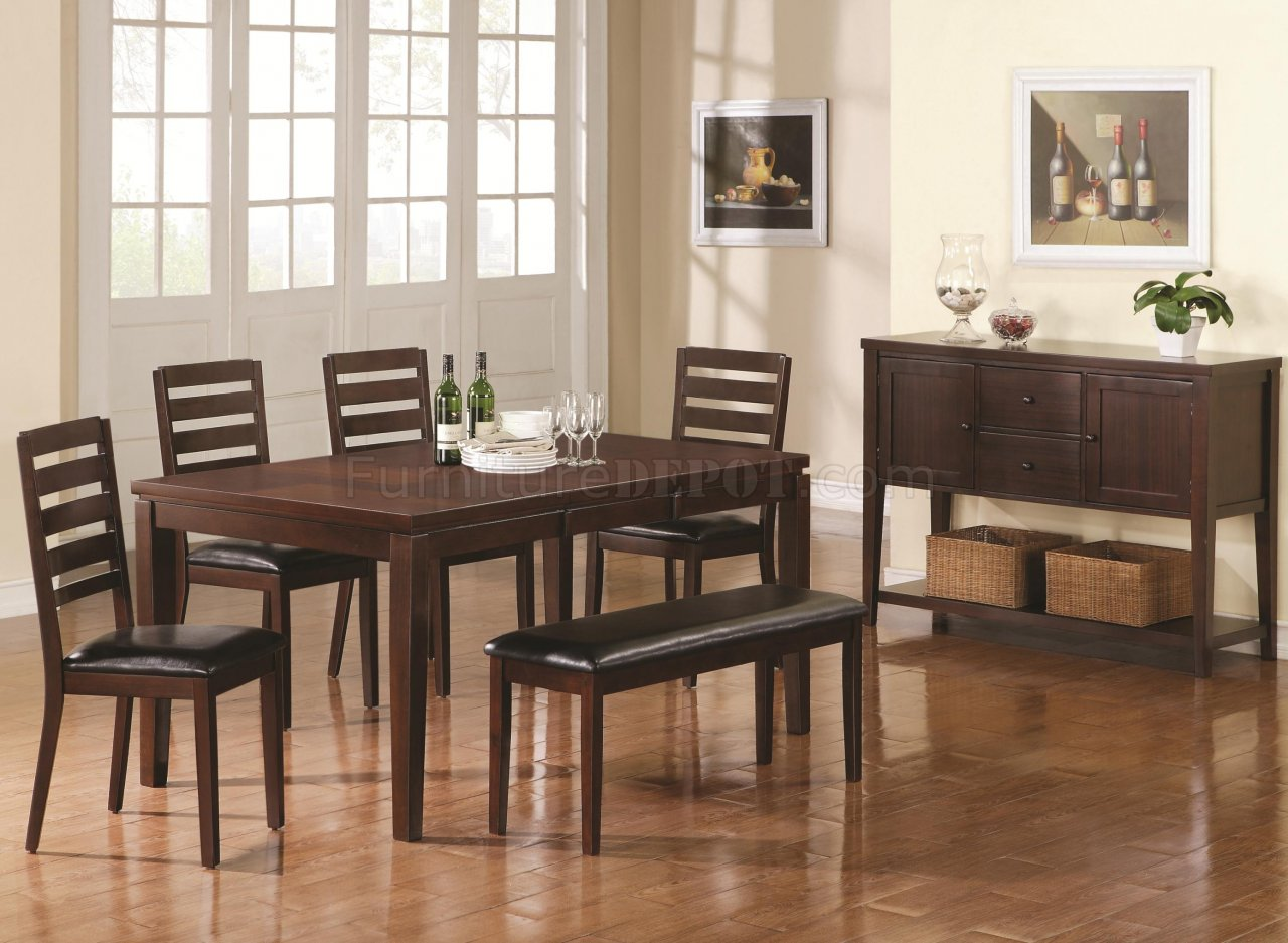Dark Brown Finish Modern Dining Table W Extension Leaf Options