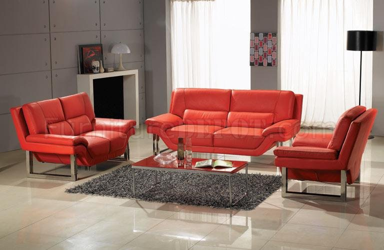 Full Top Grain Leather 3 Piece Modern Living Room Set New York Red