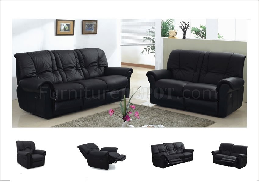 Black Leather Contemporary Living Room Sofa W Recliner Seats