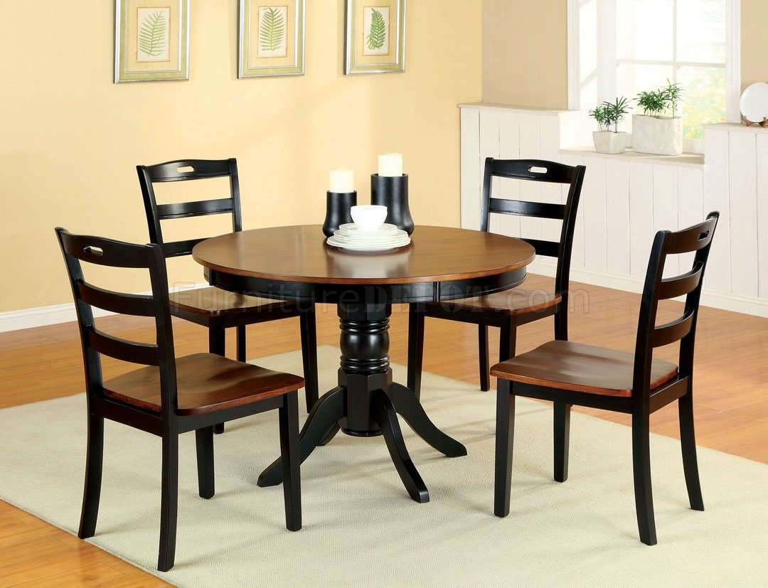 Cm3027rt johnstown 5pc dining set in antique style oak black for Small black dining table and chairs