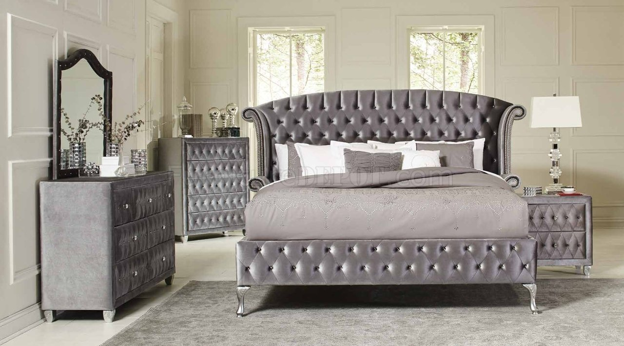 Deanna 205101 Bedroom in Grey Velvet by Coaster wOptions