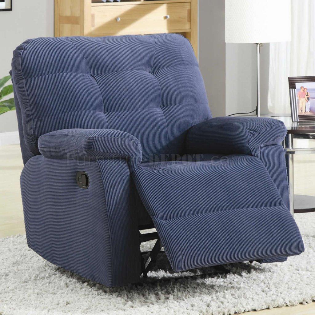 Blue Corduroy Fabric Modern Rocker Recliner Chair W Pillow