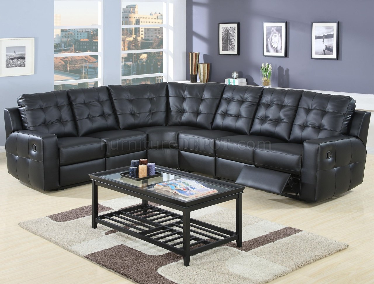 Sectional Sofas On Sale Black Bonded Leather Double Reclining
