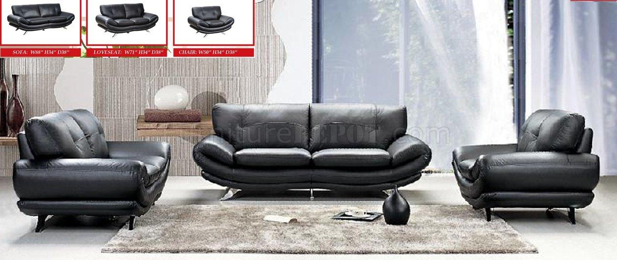 Black Bonded Leather Modern Living Room Sofa W Options