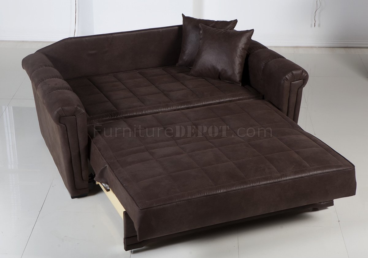 Chocolate specially treated microfiber modern loveseat bed Loveseat sofa bed