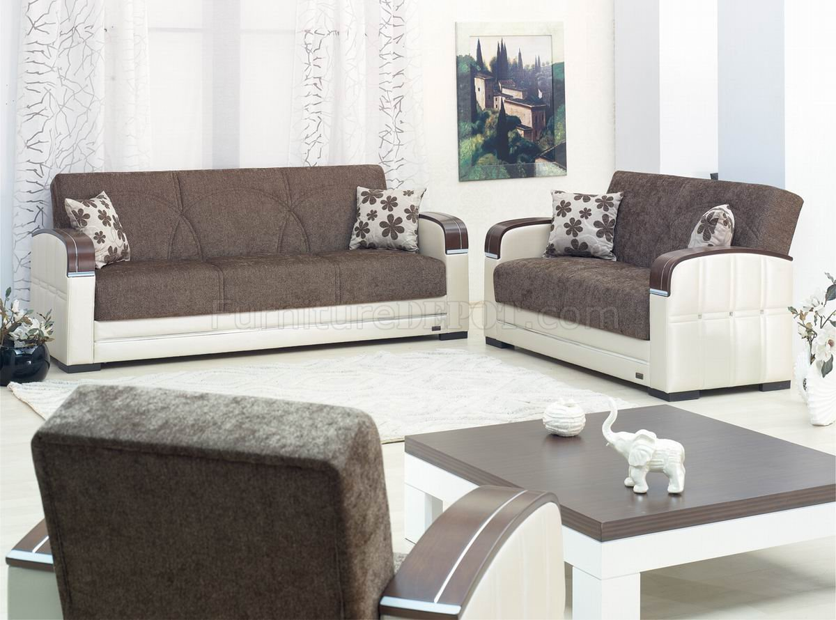 Brown Fabric & Light Vinyl Two-Tone Modern Sofa Bed w/Options